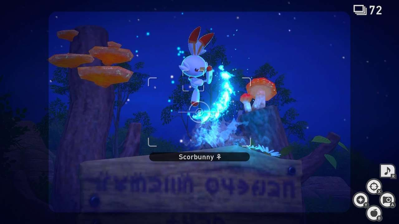 Scorbunny performs a flame kick in New Pokemon Snap