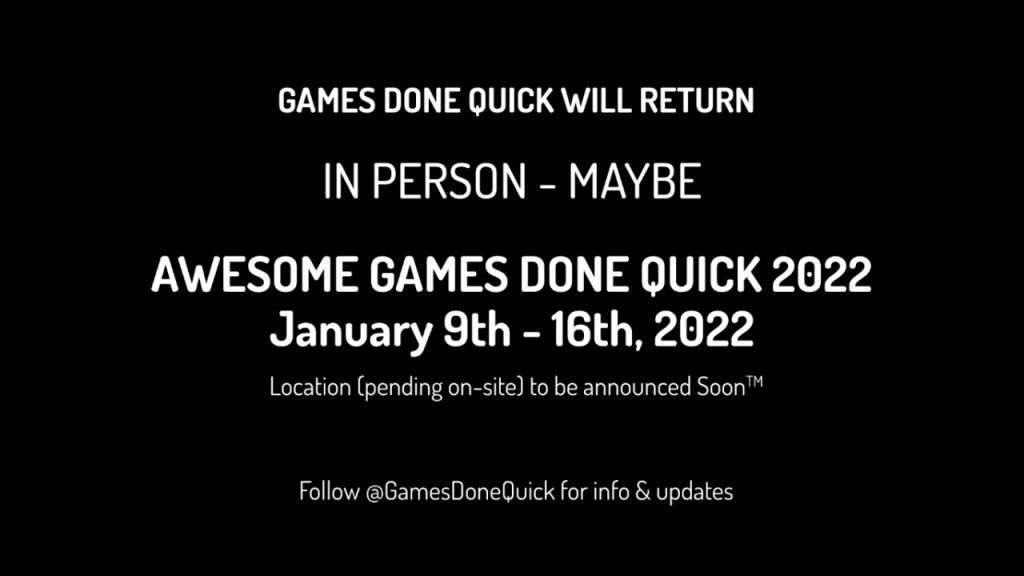 AGDQ 2022 Returns on Jan 9 2022