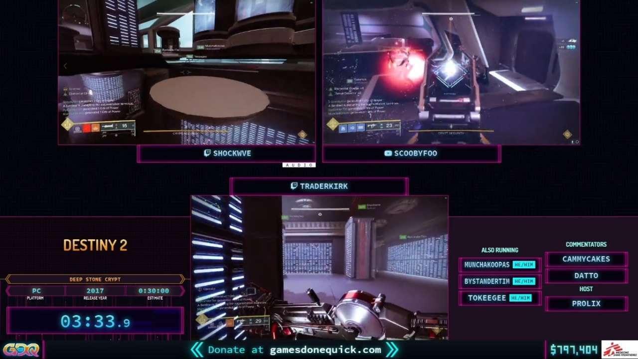 Destiny 2 Deep Stone Crypt speedrun at SGDQ 2021
