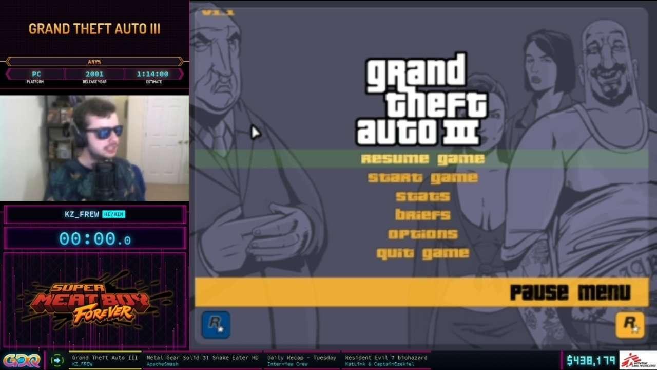 Grand Theft Auto 3 at SGDQ 2021