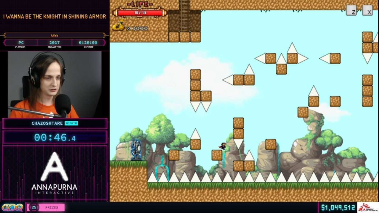 I wanna be the Knight in Shining Armor speedrun at SGDQ 2021