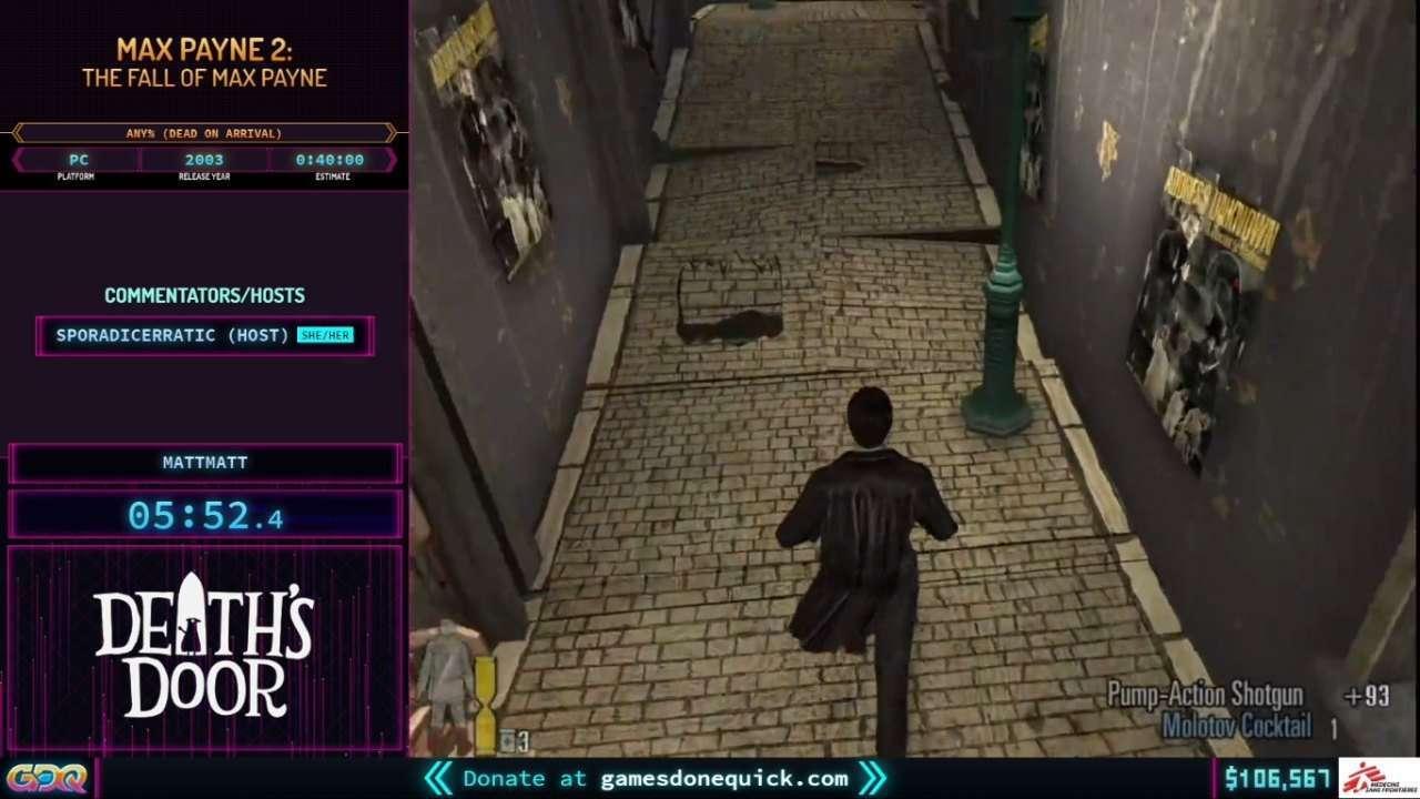 Max Payne 2 at SGDQ 2021
