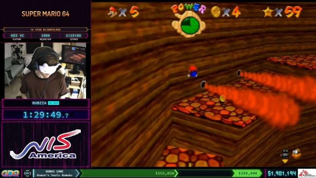 Super Mario 64 Blindfolded speedrun SGDQ 2021