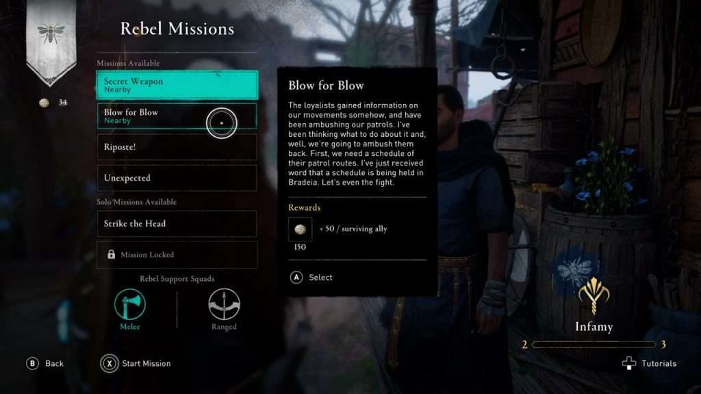 AC Valhalla Rebel Mission Select Screen