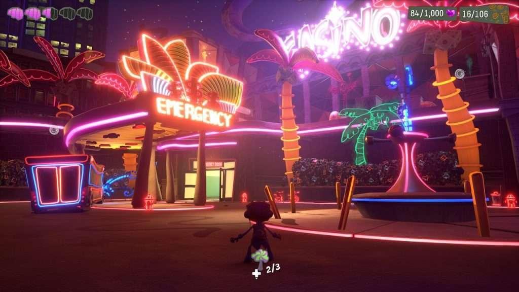 Outside a neon-lit Casino in Psychonauts 2
